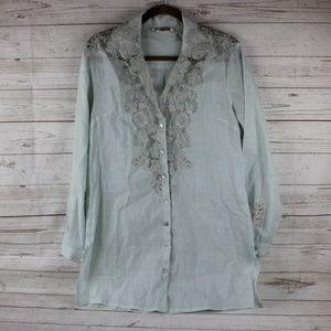Soft Surroundings S Aqua Sheer Lace Button Shirt